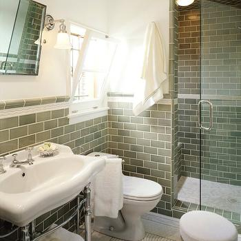 Jamie Herzlinger - bathrooms: Mediterranean bathroom design, Mediterranean bathroom remodel, sage green subway tile, green tile, green bathroom tile, chrome legged washstand, traditional washstand, wall mounted bathroom mirror, tilting bathroom mirror, pivot mirror, wall sconces, ivory walls, custom mosaic tiled floor, tile border, tiled shower enclosure, glass door, modern stool, polished nickel base, white upholstered stool, backless stool, green subway tile backsplash, green subway tile bathroom, green bathroom subway tiles, subway tiles, green subway tiles, green subway tile backsplash, green subway backsplash, green subway tile bathroom, green subway bathroom backsplash,