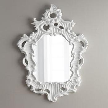 Mirrors - 'Baroque' Mirror - Neiman Marcus - baroque mirror, white baroque mirror, lacquered baroque mirror, white laquered baroque mirror,