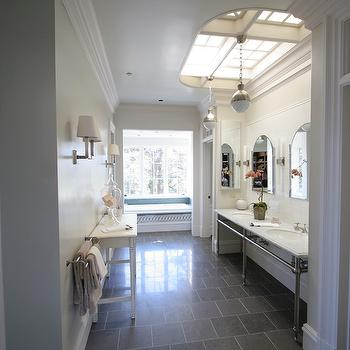 Taylor Lombardo Architects - bathrooms - slate tiles, slate floor tiles, bathroom slate tiles, gray slate tiles, gray slate bathroom tiles, 3-leg washstands, polished nickel washstands, marble washstands, 3-leg marble washstands, marble 3-leg washstands, bathroom alcove, sink alcove, hicks pendants, bathroom hicks pendants, arch bathroom mirrors, bathroom skylights, bathroom window seats, bathroom crown moldings, bathroom accent tables, bathroom hicks pendants, hicks pendant in bathrooms, Hicks Pendant,
