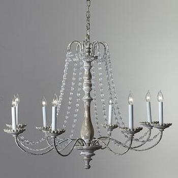 Lighting - Visual Comfort  Flanders Chandelier - Neiman Marcus - wood and iron chandelier, Belgian white finished chandelier, chandelier with glass beads, wood iron and glass bead chandelier,