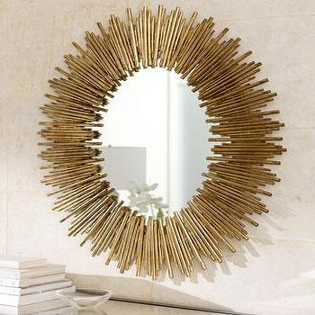 Mirrors - Golden Burst Mirror - Neiman Marcus - gold starburst mirror, starburst mirror, oval starburst mirror, gold oval starburst mirror,