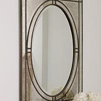 Mirrors - 'Ernestine' Mirror - Neiman Marcus - oval mirror with antiqued mirror frame, antiqued mirror, beaded mirror, oval beaded mirror,