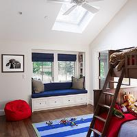Taylor Lombardo Architects - boy's rooms - boy's room vaulted ceilings, boy's bedroom vaulted ceilings, vaulted ceiling boy's rooms, vaulted ceiling boy's bedrooms, boy's room skylights, boy's bedroom skylights, traditional bunk beds, brown bunk beds, boy's bunk beds, red and blue bedding, boy's bedding, layered rugs, mint green rugs, ton-on-tone rugs, blue striped rugs, boy's room window seats, boy's bedroom window seats, deep blue cushions, window seat cushions, blue roman shades, gray pillows, ceiling fand, boy's room ceiling fans, boys window seat,