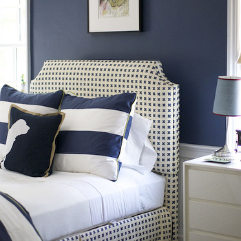 Morrison Fairfax Interiors - boy's rooms - navy blue boy's bedrooms, , navy blue paint color, navy blue walls, wainscoting, wainscoted walls, boy's room wainscoting, boy's bedroom wainscoting, striped roman shades, boy's room roman shades, clipped corners headboard, boy's headboards, boy's clipped corners headboards, white and blue headboards, boy's white and blue headboards, white and blue upholstered headboards, upholstered headboards, awning stripe pillows, white and blue awning stripe pillows, boy's modern nightstands, boy room, boys room, boy bedroom, boys bedroom, navy blue boys room,