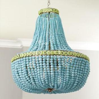 Lighting - Turquoise Drape Chandelier - Neiman Marcus - beaded chandelier, turquoise beaded chandelier, glass beaded chandelier,