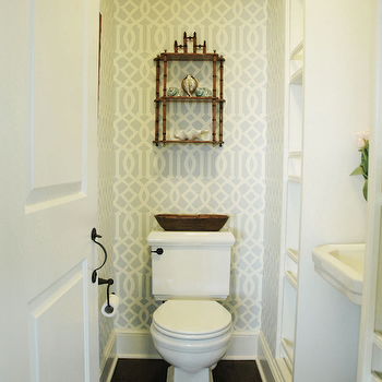 Imperial Trellis Wallpaper, Contemporary, bathroom, Morrison Fairfax Interiors