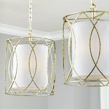 Lighting - 'Sausalito' Mini Pendant - Neiman Marcus - mini pendant, wrought iron and linen shade pendant, gold wrought iron mini pendant, metallic wrought iron mini pendant,