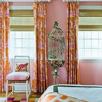 Katie Rosenfeld Design - girl's rooms - pink and orange, pink and orange tween's rooms, pink and orange girl's bedrooms, pink paint color, girl's room pink paint, girl's bedroom pink walls, pink and orange paint color, layered window treatments, chinoiserie window panels, pink and orange window panels, pink and orange chinoiserie panels, matchstick shades, girl's window treatments, girl's bedroom window treatments, bird cages, vintage bird cages, checkered rug, tween's room rugs, girl's rugs, colorful checkered rugs, white hotel bedding, girl's bedding, orange throw, orange curtains, orange drapes, orange window panels, orange and pink curtains, orange and pink drapes, orange and pink window panels,