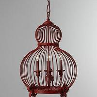 Lighting - Red 'Birdcage' Pendant - Neiman Marcus - red birdcage pendant, red pendant lighting, red pendant fixture,