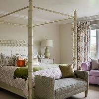 Katie Rosenfeld Design - girl's rooms - chesterfields, chesterfield sofas, lavender chesterfields, lavender chesterfield sofas, bay windows girl bay windows, girls bedroom bay windows, metallic pillows, celadon, celadon green, bedside lamps, bedside table lamps, celadon bedside lamps, celadon green bedside lamps, celadon table lamps, celadon green table lamps, vintage bedside tables, gray bedside tables, gray vintage bedside tables, girls bedside tables, girls nightstands, vintage girls bedside tables, vintage girls nightstands, gray girls bedside tables, gray girls nightstands, ivory poster beds, girls beds, girls poster beds, ivory girls beds, settee, girls settees, lattice bedding, lattice duvet, pink lattice bedding, pink lattice duvet, bamboo bed, bamboo canopy bed, faux bamboo bed, faux bamboo canopy bed, West Elm Metallic Brush Pillow,