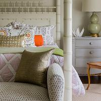 Katie Rosenfeld Design - girl's rooms - celadon, celadon green, ceramic lamps, celadon ceramic lamps, celadon green lamps, girls lamps, girls bedside table lamps, girls nightstand lamps, vintage bedside tables, gray bedside tables, gray vintage bedside tables, girls bedside tables, girls nightstands, gray girls nightstands, gray girls bedside tables, bamboo bed, poster beds, bamboo poster beds, ivory poster beds, ivory bamboo beds, girls beds, girls poster beds, girls bamboo beds, lavender bedding, lavender girls bedding, girls bedding, lattice bedding, lavender lattice bedding, lattice girls bedding, bedroom settees, girls settees, metallic pillows, girls pillows, girls bedroom pillows, lumbar pillows, hermes orange, hermes orange lumbar pillows, orange lumbar pillows, gray nightstand, grey nightstand, gray bedside table, grey bedside table,