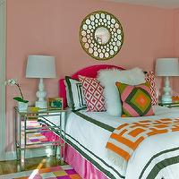 Katie Rosenfeld Design - girl's rooms - adorable girls bedrooms, chic girls bedrooms, chic girl bedrooms, pink girl's bedrooms, pink paint color, mirrored tile mirrors, camelback headboard, hot pink headboards, hot pink camelback headboards, girl's headboards, hot pink, hot pink bed skirt, hot pink bedskirts, white hotel bedding, bedding with border, pink ikat pillows, ikat pillows, shag pillows, white shag pillows, geometric pillows, pink and green pillows, pink and green geometric pillows, mirrored nightstands, girls nightstands, girls nightstands, nightstands for girls, headboards for girls, girls headboards, girls bedroom lamps girls lamps, girls pillows, girls bedroom pillows, geometric throws, pink and green pillows, pink ikat pillows, shag pillows, white shag pillows, checkered rugs, girls rugs, girls bedroom rugs, colorful checkered rugs, pink and green girls bedding, pink and green girls room, pink and green pink bedroom,