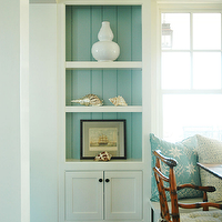 Morrison Fairfax Interiors - dining rooms - beach cottage dining rooms, beachy dining rooms, built-in banquette, banquette, dining room banquette, dining room built-ins, dining room cabinets, built-in dining room cabinets, turquoise blue, turquoise blue beadboard, turquoise blue beadboard backsplash, dining room beadboard, beadboard backsplash, wicker chairs, wicker dining chairs, blue pillows, banquette pillows, blue banquette pillows, bound sisal rugs, banquette built-ins, blue built-ins,