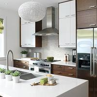 House & Home - kitchens - modern kitchen, contemporary kitchen, gray backsplash, gray mosaic backsplash, mosaic backsplash tile, white walls, green roman blinds, Ikea cabinets, Ikea kitchens, custom kitchen using Ikea cabinets, Ikea Nexus oak-veneer cabinets, Ikea Abstrakt cabinets, glossy white cabinets, gray glass mosaic tile, white countertops, island, undermount sink, gooseneck faucet, waterfall edge island countertops, stainless steel appliances, stainless steel fridge, stainless steel oven, stainless steel hood, Ikea kitchen, woven pendants, white woven pendants, mixed cabinet veneers, mixed colored kitchen cabinets, succulents, ikea nexus, ikea cabinets, ikea kitchen cabinets,