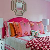Katie Rosenfeld Design - girl's rooms - cotton candy pink, cotton candy pink paint color, cotton candy pink walls, cotton candy pink girls bedrooms, cottane candy pink girls rooms, hot pink headboards, camelback headboards, hot pink camelback headboards, girls headboards, hot pink girls bedrooms, camelback girls headboards, gray mirrors, gray geometric mirrors, hex nightstands, white hex nightstands, girls nightstands, white girls nightstands, double gourd lamps, white double gourd lamps, girls lamps, girls bedside lamps, white girls lamps, pink curtains, pink girls curtains, girls curtains, girls drapes, girls window panels, pink girls curtains, pink girls drapes, pink girls window panels, pink and orange shams, pink headboard, pink camelback headboard,