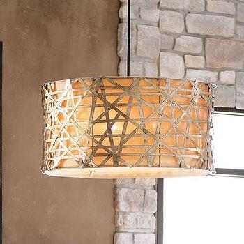 Lighting - 'Alita' Basketweave Pendant - Neiman Marcus - basketweave pendant, silver leafed basketweave pendant,