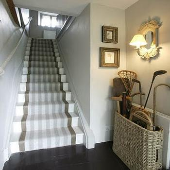 Gray Stair Runner, Country, entrance/foyer