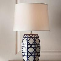 Lighting - Navy 'Latticework' Lamp - Neiman Marcus - lattice lamp, navy blue and white lattice lamp, geometric blue and white lamp, blue and white latticework lamp,