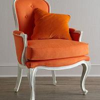 Seating - 'Breena' Pompadou Armchair - Neiman Marcus - Louis XV-style armchair, orange Louis XV-style armchair, bright orange Louis XV-style armchair, orange French style armchair,