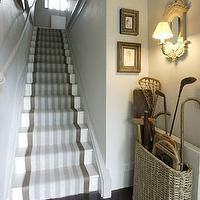entrances/foyers - striped stair runner, stair runner, woven storage basket, foyer storage baskets, gray stair runner,  Fun foyer with striped