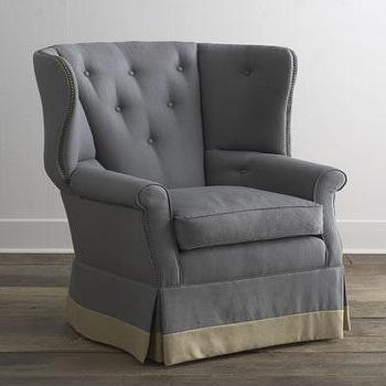 Seating - 'Losoya' Host Chair - Neiman Marcus - gray button tufted host chair, gray button tufted chair, gray box-pleat tufted chair, gray and tan host chair, gray and tan chair,