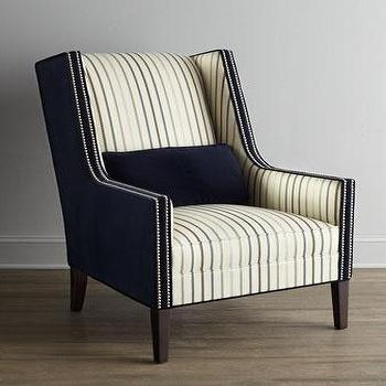 Seating - 'Valerie' Chair - Neiman Marcus - striped navy blue square-armed wing chair, navy and cream square-armed wing chair, square-armed wing chair with nailhead trim,