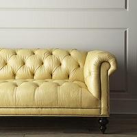 Seating - 'Fenway' Tufted Leather Sofa - Neiman Marcus - leather diamond tufted sofa, leather yellow diamond tufted sofa, yellow leather chesterfield style sofa,