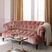 Seating - &#039;Brussel Blush&#039; Tufted Sofa - Neiman Marcus - pink tufted sofa, tufted sofa, blush pink tufted sofa,