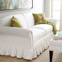 Seating - &#039;Adel&#039; Sofa - Neiman Marcus - white sofa, cream sofa, shabby chic sofa, frilly skirted sofa, skirted sofa,