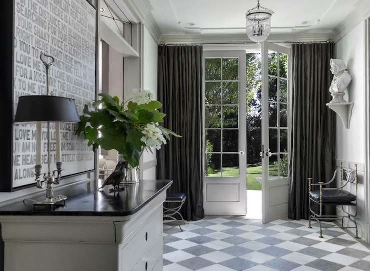 Traditional Foyer Tiles : Checkered tile floor traditional entrance foyer
