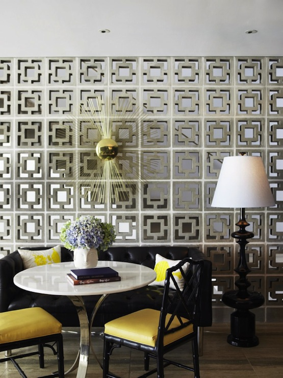 Wall With Brass Sunburst Wall Decor And Jonathan Adler Trousdale Lamp