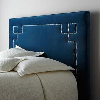 Bedding - 'Bolivar' Headboard - Neiman Marcus - blue headboard, blue headboard with nailhead trim, headboard with geometric nailhead trim,