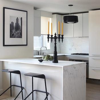 Waterfall Marble Kitchen Island, Modern, kitchen, Magdalena Keck Interior Design
