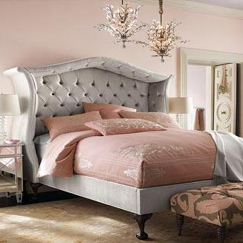 Beds/Headboards - Silver 'Peekaboo' Bed - Neiman Marcus - silver tufted canopy bed, silver tufted headboard, silver button tufted headboard,