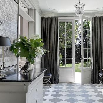 Checkered Tile Floor, Traditional, entrance/foyer, Benjamin Moore White Dove, Veranda