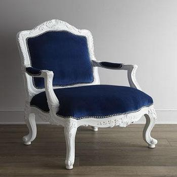 Seating - 'Gabrielle' Chair - Neiman Marcus - white carved chair with blue velvet upholstery, carved chair with velvet upholstery, dark blue velvet chair, regal dark blue chair,