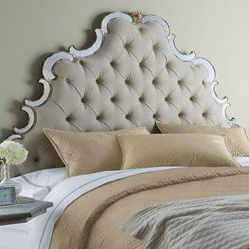 Beds/Headboards - 'Bristol' Tufted Headboard - Neiman Marcus - tufted-linen headboard, tufted-linen headboard with mirrored frame, antique mirror and tufted headboard,