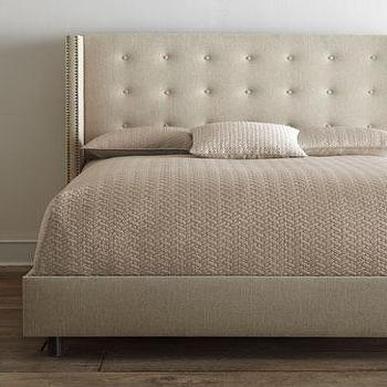 Beds/Headboards - 'Parlin' Tufted Wing Bed - Neiman Marcus - tan wing style headboard, wing headboard with tufting, wing headboard with nailhead trim, tan tufted bed, tan wing style bed with nailhead trim,