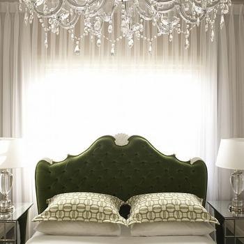 Greg Natale - bedrooms - bed in front of window, beds in front of window, mirrored nightstands, green headboard, dark green headboard, tufted green headboard, ornate headboard, gauzy curtains, gauzy drapes, sheers, sheer curtains, sheer drapes, pleated drapes, pleated curtains, green and white bedding, green and white bed linens, geometric bedding, green and white geometric bedding, light filtering drapes, ornate crystal chandelier, crystal chanderlier, crystal lamps, traditional tufted headboard, glamorous bedrooms, green and white bedrooms, green bedrooms, green velvet headboards, french headboards, green french headboards, hollywood regency bedrooms, velvet tufted headboards,