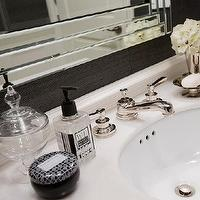 Jennifer Backstein Interiors - bathrooms - Charcoal grey, white, contemporary, powder room, charcoal grey and silver grasscloth wallpaper, white marble counter top, polished nickel vanity base, polished nickel wall sconces, charcoal grey and white mosaic marble tile, glam powder room, glamorous powder room,