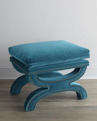 Seating - 'Gratz' Bench - Neiman Marcus - teal velvet bench, velvet bench with nailhead trim, modern curule seat, teal velvet bench with nailhead trim,