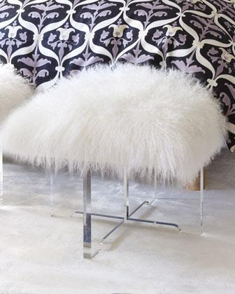 Seating - Sheepskin Bench - Neiman Marcus - lucite and sheepskin bench, skeepskin bench, lucite bench with fluffy seat cushion,