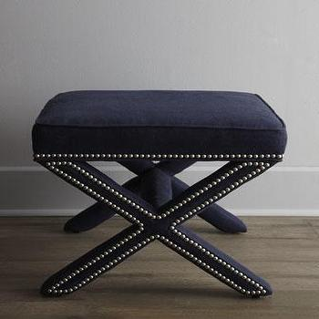 Seating - Linen X-Bench - Neiman Marcus - linen x-bench, navy blue x-bench, x-bench with nailhead trim, navy blue x-bench with nailhead trim,