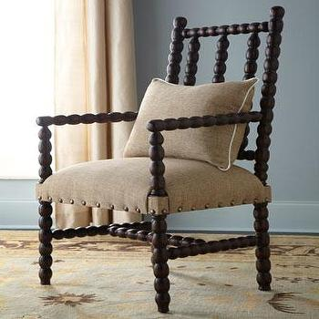 Seating - 'Bobbin' Chair - Neiman Marcus - black bobbin chair, bobbin chair, bobbin chair with nailhead trim, bobbin chair with linen seat,