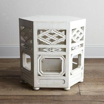 Tables - 'Tobin' White Side Table - Neiman Marcus - carved wood side table, white carved wood side table, white hexagonal side table, hexagonal side table,