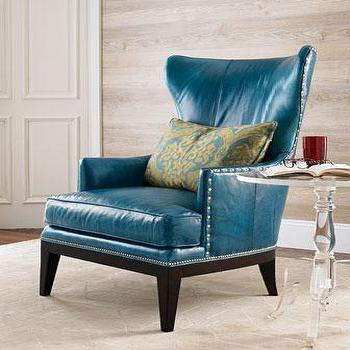 Seating - 'Donovan' Wing Chair - Neiman Marcus - teal blue chair, blue leather chair, blue leather wing chair, teal leather wing chair, blue leather win chair with nailhead trim, teal blue leather wing chair with nailhead trim,