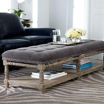 Seating - 'Easton' Bench - Neiman Marcus - tufted bench, tufted ottoman, tufted bench with nailhead trim, tufted bench with wooden shelf, tufted ottoman with wooden shelf,
