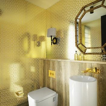 Greg Natale - bathrooms - gold bathroom, gold powder room, metallic gold wallpaper, gold foil wallpaper, gold wallpaper, geometric gold wallpaper, black and brass wall sconce, Striated marble floor, Striated marble backsplash, floating toilet, modern toilet, minimalist toilet, minimalist sink, modern sink, brass hardware, hollywood regency, luxurious poweder room, glamorous bathroom, glamorous powder room, bamboo mirror, minimalist, metallic wallpaper, geometric foil wallpaper, gold metallic wallpaper, Jonathan Adler Gold Nixon Wallpaper, Jonathan Adler Ventana Wall Sconce,