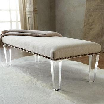 Seating - 'Elton' Bench - Neiman Marcus - linen bench with lucite legs, linen bench with nailhead trim and lucite legs, linen bench with nailhead trim, lucite legged bench,