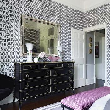 Black Faux Bamboo Dresser, Hollywood Regency, bedroom, Greg Natale